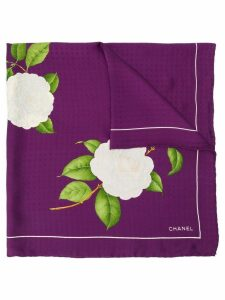 Chanel Pre-Owned CC floral print scarf - Purple