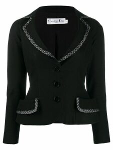 Christian Dior Pre-Owned bow embroidered trim tailored jacket - Black