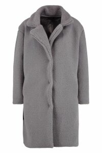 Womens Teddy Faux Fur Coat - grey - 8, Grey