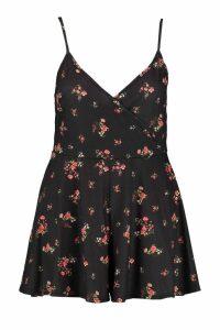 Womens Plus Ditsy Floral Print Swing Flippy Playsuit - black - 20, Black