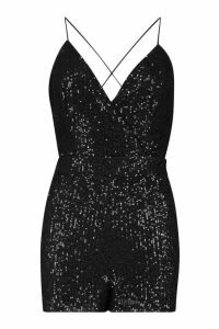 Womens Petite Wrap Front Strappy Sequin Playsuit - black - 14, Black