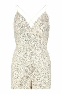 Womens Petite Wrap Front Strappy Sequin Playsuit - pink - 14, Pink