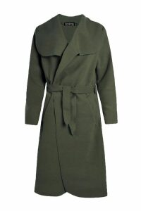Womens Belted Shawl Collar Coat - green - One Size, Green
