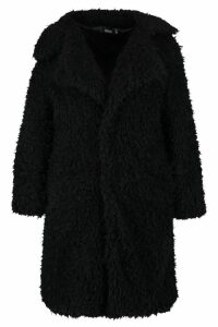 Womens Plus Long Sleeve Faux Fur Coat - black - 20, Black