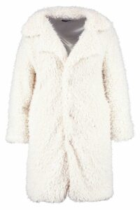 Womens Plus Long Sleeve Faux Fur Coat - white - 16, White