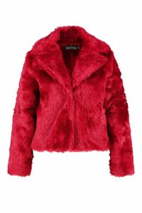 Womens Plus Faux Fur Coat - red - 20, Red