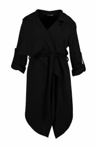 Womens Plus Daisy Belted Waterfall Duster Coat - black - 20, Black