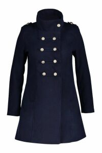 Womens Plus Military Wool Look Coat - navy - 18, Navy