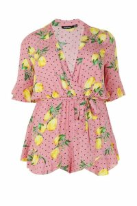 Womens Plus Lemon Polka Dot Wrap Ruffle Playsuit - Pink - 24, Pink