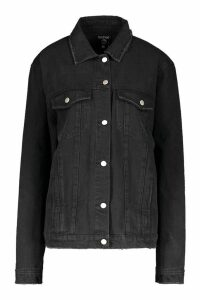 Womens Oversized Trucker Denim Jacket - black - XS, Black