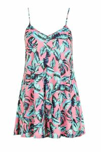 Womens Palm Print Swing Playsuit - Pink - 8, Pink