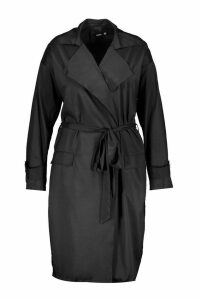 Womens Plus Soft Trench Coat - black - 16, Black