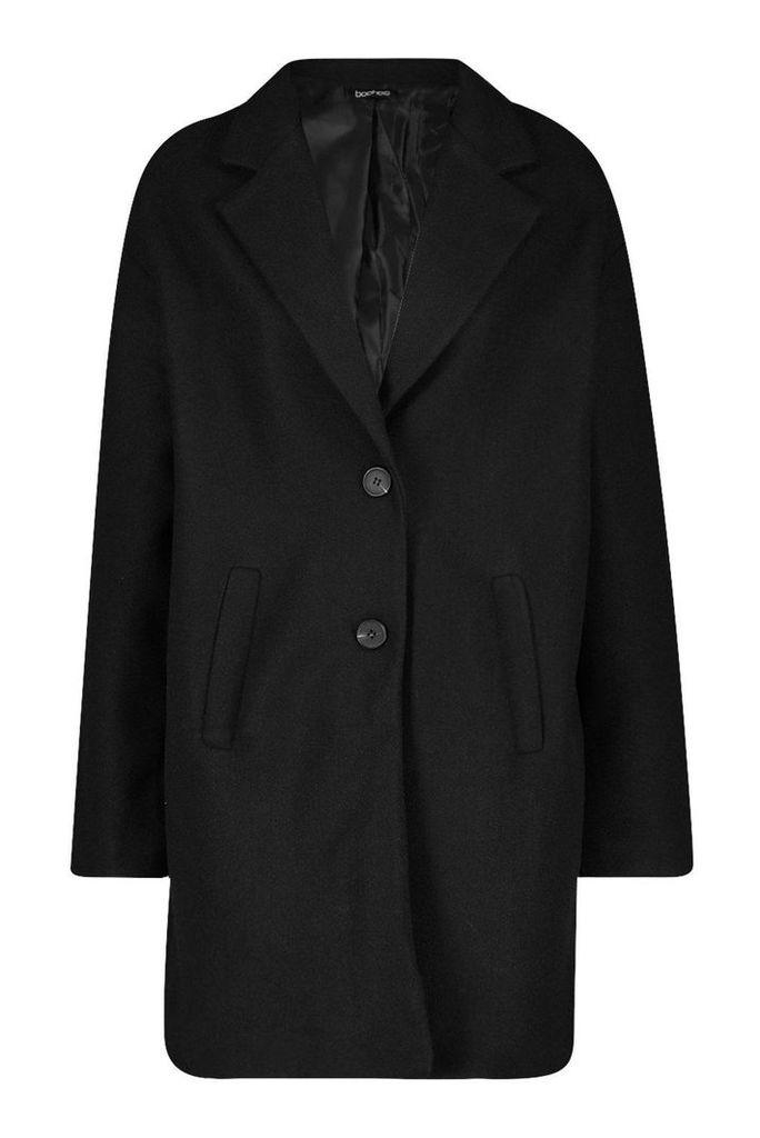 Womens Tall Boxy Oversized Wool Look Coat - black - 16, Black