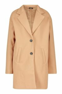 Womens Tall Boxy Oversized Wool Look Coat - beige - 8, Beige