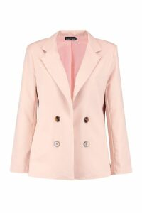 Womens Tailored Button Front Blazer - pink - 14, Pink