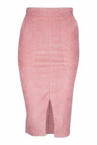 Womens Cord Midi Skirt - pink - 12, Pink