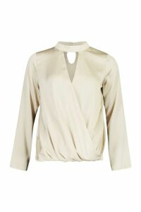 Womens Satin Choker Wrap Front Top - beige - 10, Beige