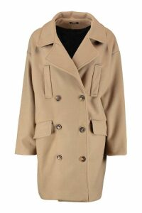 Womens Double Breasted Pocket Detail Wool Look Coat - beige - 12, Beige