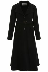 Valentino Coat With V Gold Belt