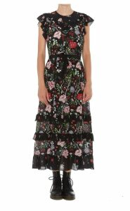 Red Valentino Muslin Dress With Cherry Blossom Print
