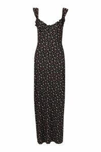 Womens Ditsy Floral Cupped Maxi Dress - black - 14, Black