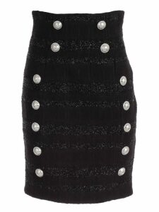 Balmain Skirt Pencil High Waist Tweed