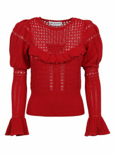 self-portrait Dark Red Knitted Lace Top