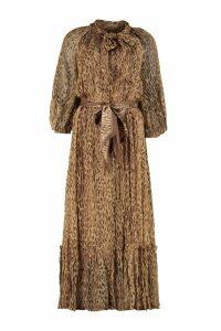 Zimmermann Espionage Long Silk Dress With Ruffle