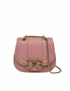 Dolce & Gabbana Love Shoulder Strap In Pink Calfskin