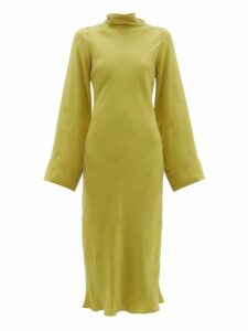 Worme - Roll Neck Silk Midi Dress - Womens - Light Green