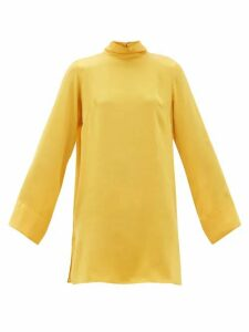 Worme - Roll Neck Silk Mini Dress - Womens - Yellow