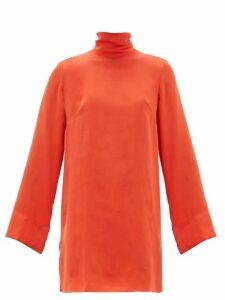 Worme - The Mini High Neck Silk Dress - Womens - Red