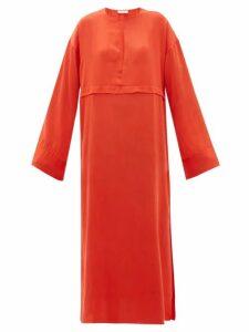 Worme - Pleated Keyhole Silk Maxi Dress - Womens - Red