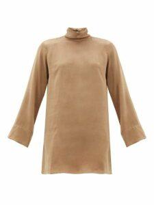 Worme - Roll Neck Silk Mini Dress - Womens - Tan