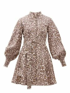 Zimmermann - Sabotage Leopard Print Silk Mini Dress - Womens - Leopard