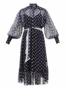 Zimmermann - Sabotage Lantern Belted Polka Dot Silk Midi Dress - Womens - Navy Print