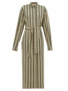 On The Island By Marios Schwab - Kambos Striped Twill Shirtdress - Womens - Green Stripe
