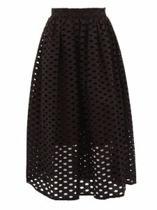 Mara Hoffman - Cecilia Broderie Anglaise Cotton Midi Skirt - Womens - Black