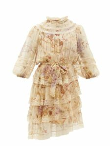 Zimmermann - Sabotage Lace Trimmed Floral Print Silk Mini Dress - Womens - Cream Print