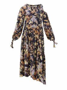 Zimmermann - Sabotage Asymmetric Floral Print Silk Blend Dress - Womens - Blue Print