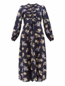 Zimmermann - Sabotage Ruched Floral Print Silk Blend Midi Dress - Womens - Navy Print