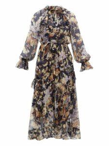 Zimmermann - Sabotage Floral Print Silk Chiffon Midi Dress - Womens - Navy Print