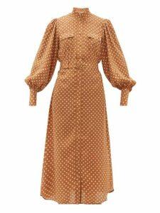 Zimmermann - Espionage Polka Dot Silk Shirtdress - Womens - Brown Print