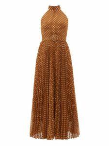Zimmermann - Espionage Sunray Polka Dot Pleated Crepe Dress - Womens - Brown Print