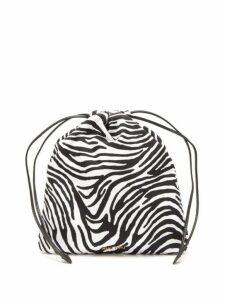 Miu Miu - Zebra Print Drawstring Wash Bag - Womens - Black Multi