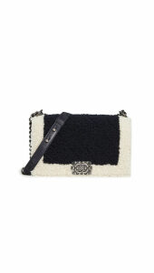 What Goes Around Comes Around Chanel Black Shearling Boy Bag Medium