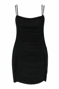 Womens Plus Square Neck Strappy Ruched Bodycon Dress - black - 26, Black