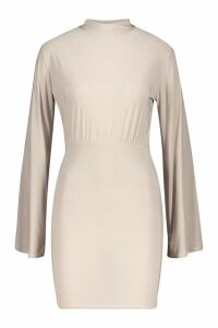 Womens Petite High Neck Slinky Dress - beige - 12, Beige