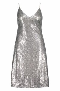 Womens Plus Sequin Plunge Midi Slip Dress - grey - 18, Grey