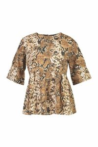 Womens Petite Woven Snake Print Frill Sleeve Smock Top - beige - 14, Beige